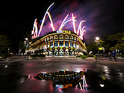 Fireworks soar over Citi Field after the baseball game between the New York Mets and the Washington Nationals at Citi Field on Saturday, Sept. 13, 2014, in New York. (AP Photo/Kathy Kmonicek)