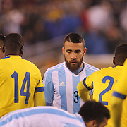 Frickson Erazo, Argentina, during the Argentina Vs Ecuador International friendly football match at MetLife Stadium, New Jersey. USA. 31st march 2015. Photo Tim Clayton