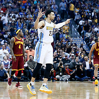 22 March 2017: Denver Nuggets guard Jamal Murray (27) celebrates a 3 point shot during the Denver Nuggets 126-113 victory over the Cleveland Cavaliers, at the Pepsi Center, Denver, Colorado, USA.