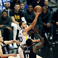 LOS ANGELES, CA - APR 26: Stephen Curry (30) of the Golden State Warriors goes for the layup during Game 6 of the Western Conference First Round on April 26, 2019 at the Staples Center, in Los Angeles, California.