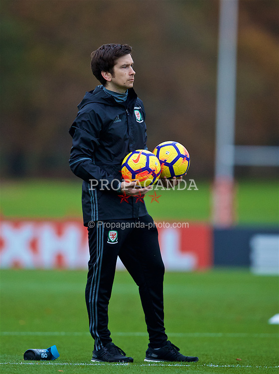 CARDIFF, WALES - Monday, November 6, 2017: Wales' Doctor Rhodri Martin during a training session at the Vale Resort ahead of the international friendly match against France. (Pic by David Rawcliffe/Propaganda)