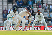 Alastair Cook of England defends a ball from Ravichandran Ashwin of India during day two of the fourth SpecSavers International Test Match 2018 match between England and India at the Ageas Bowl, Southampton, United Kingdom on 31 August 2018.