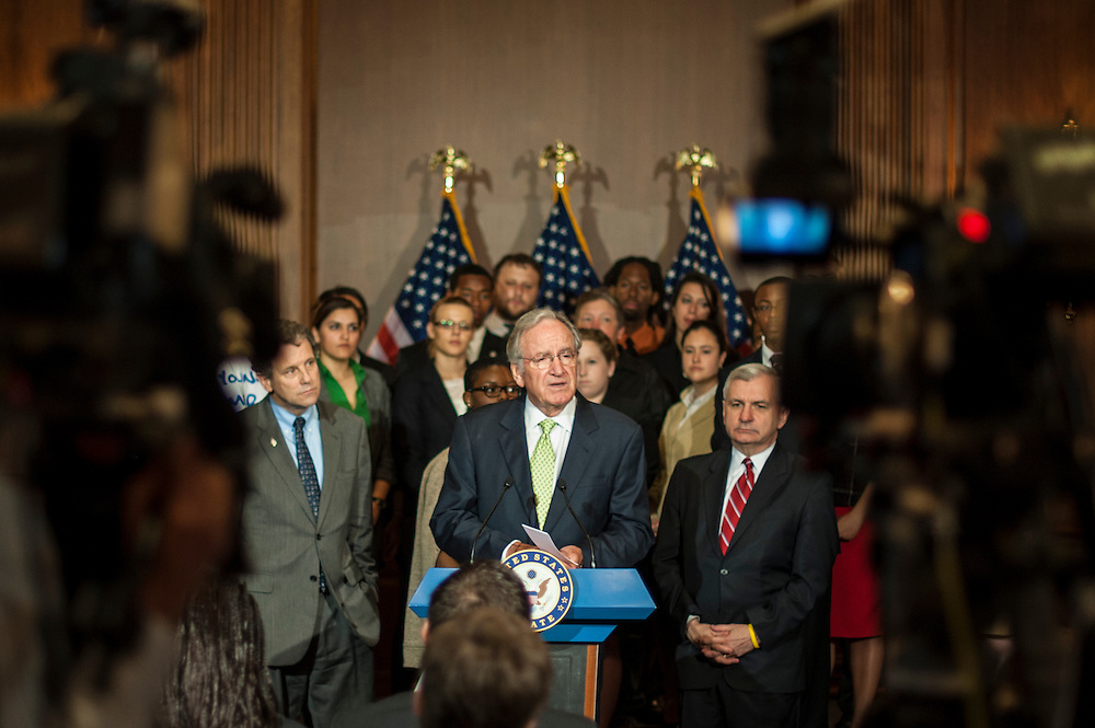 """Senate Health, Education, Labor and Pensions Chairman TOM HARKIN (D-IA),  speaks during a news conference with college students and recent graduates on Capitol Hill to call for the passage of S.2343, """"The Stop the Student Loan Interest Rate Hike Act of 2012."""" A vote to proceed to debate on the bill is scheduled in the Senate at noon today."""