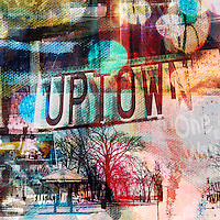 Uptown Minneapolis art photo collage is a textured, colorful mixture of photography and paint.  This is a square format.