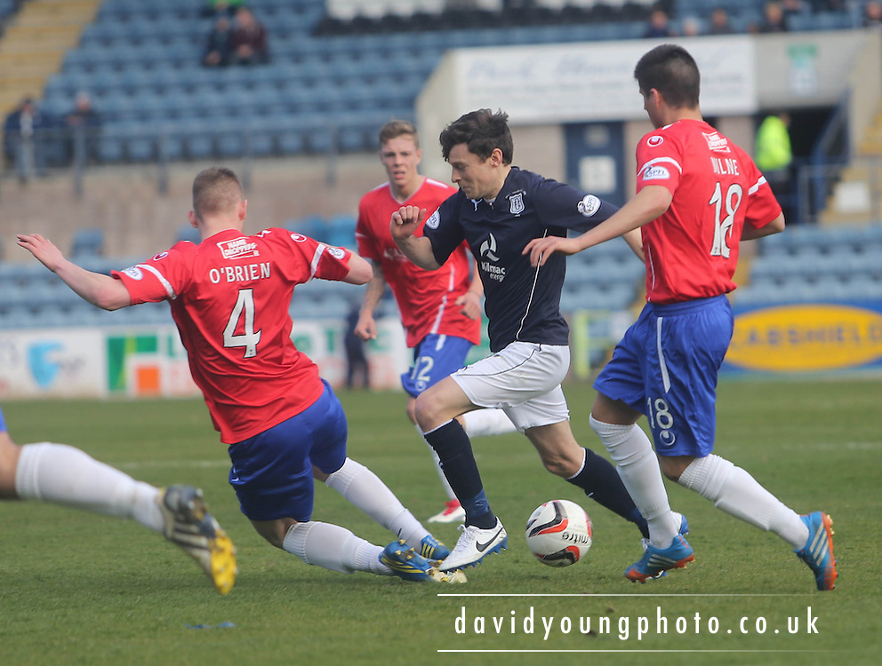 Thomas O'Brien and Lewis Milne try to stop Nicky Riley - Dundee v Cowdenbeath, SPFL Championship at Dens Park<br /> <br />  - &copy; David Young - www.davidyoungphoto.co.uk - email: davidyoungphoto@gmail.com