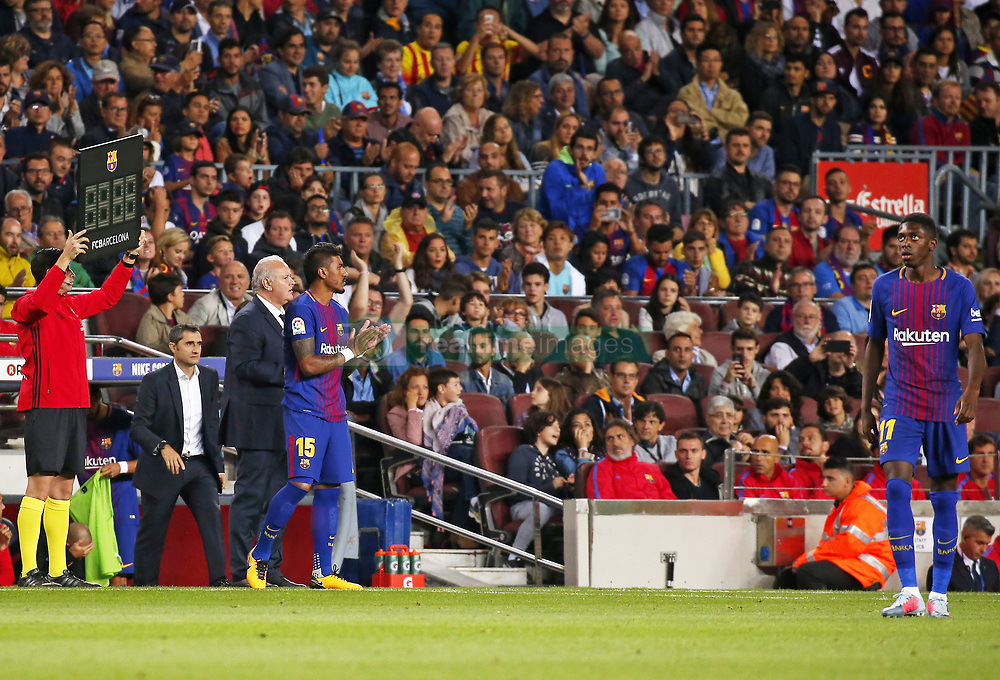 September 9, 2017 - Barcelona, Catalonia, Spain - Paulinho Bezerra and Ousmane Dembele during La Liga match between F.C. Barcelona v RCD Espanyol, in Barcelona, on September 09, 2017. (Credit Image: © Joan Valls/NurPhoto via ZUMA Press)