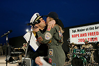USO show at Abu Ghraib prison<br /> <br /> photograph by Owen Franken/USO<br /> <br /> <br /> during performance by Daryll Worley