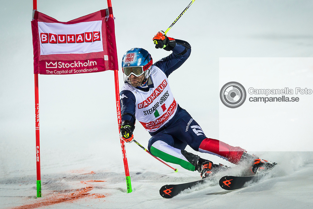 STOCKHOLM, SWEDEN - February 23th 2016:<br /> <br /> Stefano Gross of Italy competes in a parallel slalom race during the 2016 Audi FIS Ski World Cup at Hammarbybacken in Stockholm, Sweden on February 23th 2016. (Photo: Michael Campanella)