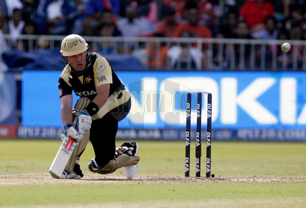 DURBAN, SOUTH AFRICA - 29 April 2009. Morne van Wyk plays a shot during the IPL Season 2 match between Kolkata knight Riders and the Royal Challengers Bangalore held at Sahara Stadium Kingsmead, Durban, South Africa..