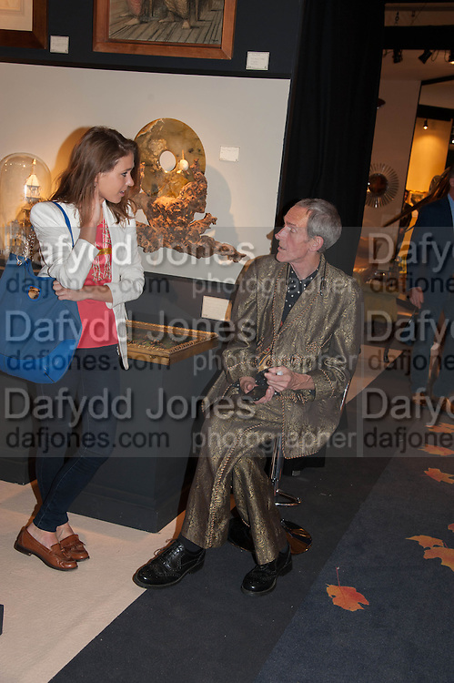 Anna Brady (left) and Robert Barley (right) at the Opening of The LAPADA  Art and Antiques Fair. Berkeley Sq. London. 24 September 2013.