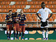 FC Barcelona players celebrates the goal of Kaptoum during the Copa Del Rey match at Mestalla, Valencia<br /> Picture by Maria Jose Segovia/Focus Images Ltd +34 660052291<br /> 10/02/2016