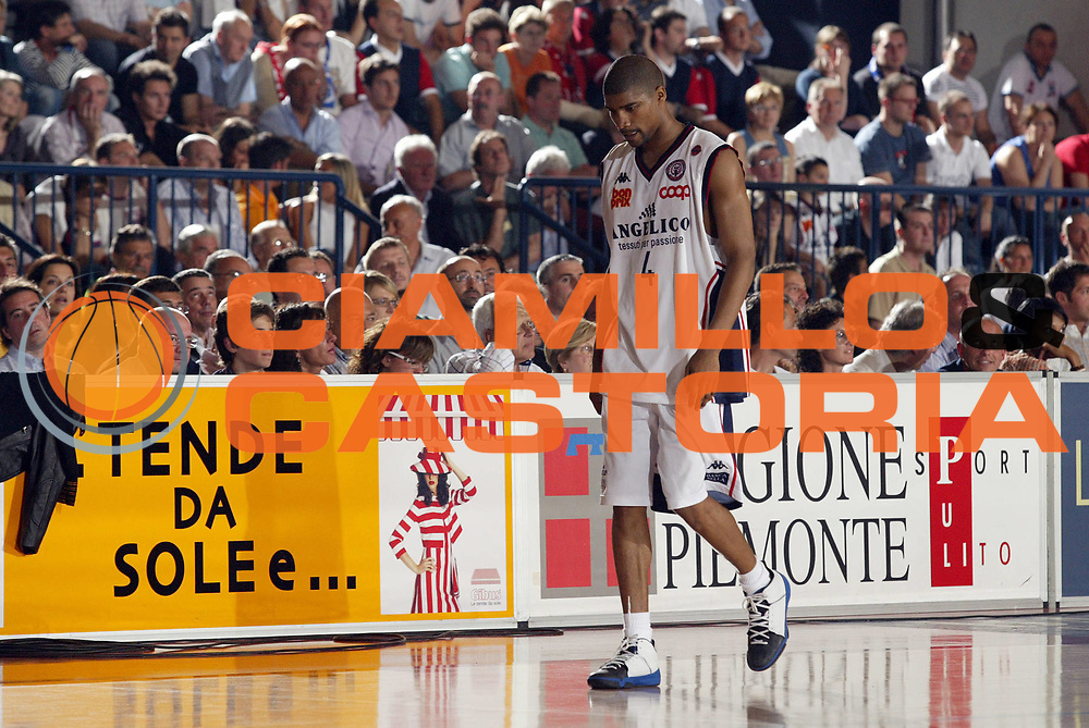 DESCRIZIONE : Pictures of the Week Playoff Quarti di Finale Gara 2 Lega A1 2006-07 <br /> GIOCATORE : Gaines <br /> SQUADRA : Angelico Biella <br /> EVENTO : Campionato Lega A1 2006-2007 Playoff Quarti di Finale Gara 2 <br /> GARA : Angelico Biella VidiVici Virtus Bologna <br /> DATA : 20/05/2007 <br /> CATEGORIA : Delusione <br /> SPORT : Pallacanestro <br /> AUTORE : Agenzia Ciamillo-Castoria/G.Cottini <br /> Galleria : Pictures of the Week 2006-2007 <br /> Fotonotizia : Pictures of the Week Playoff Quarti di Finale Gara 2 Campionato Italiano Lega A1 2006-2007 <br /> Predefinita :