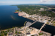 Aerial view of Sturgeon Bay, Wisconsin, it's bridges and shipping channel.