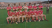 All Ireland Senior Hurling Championship - Final,.04.09.1983, 09.04.1983, 4th September 1983,.Kilkenny v Cork, .Kilkenny 2-14, Cork 2-12,.04091983AISHCF,.Back row, Donal O'Grady, Pat Horgan, Tim Crowley, Ger Cunningham, John Buckley, Brian Murphy, John Crowley, Front row, Eamonn O'Donoghue, Tomas Mulcahy, Kevin Hennessy, Jummy Barry Murphy captain, Tom Cashman, Dermot McCurtain, Bertie Og Murphy, John Fenton,