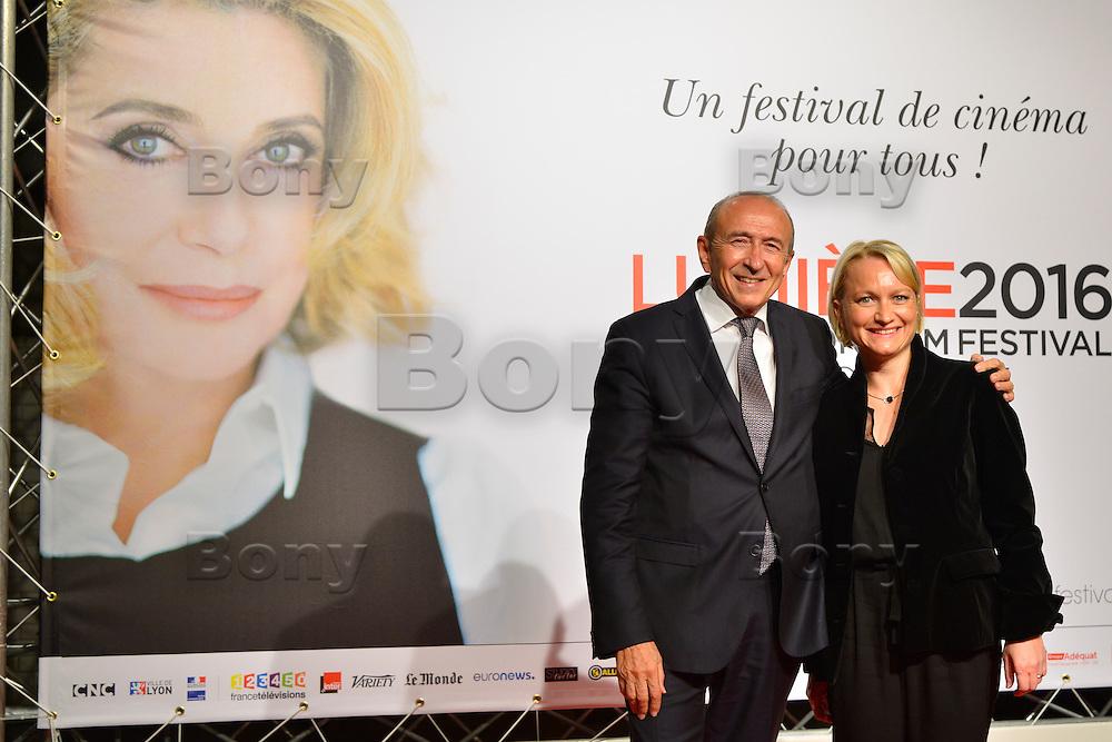 Gerard &amp; Caroline Collomb<br /> Lyon 8 oct 2016 - Festival Lumi&egrave;re 2016 - C&eacute;r&eacute;monie d&rsquo;Ouverture<br /> 8th Film Festival Lumiere In Lyon : Opening Ceremony