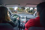 Nederland, Millingen, 8-11-2012..Een meisje van 17 jaar oud heeft haar rijbewijs gehaald en mag samen met haar vader of moeder die een begeleiderspas hebben in hun auto de weg op...Foto: Flip Franssen/Hollandse Hoogte