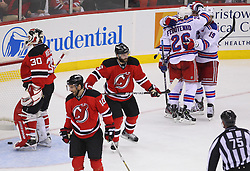May 25, 2012; Newark, NJ, USA; New York Rangers celebrate a goal by New York Rangers left wing Ruslan Fedotenko (26) during the second period in game six of the 2012 Eastern Conference finals at the Prudential Center.