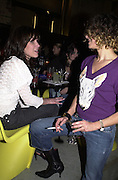 Jessica Morris and Desiree Beyer ( ? spelling ) Fake. Smile1-D in association with Emporio Armani.  Wapping Power Station. 3 April 2001. © Copyright Photograph by Dafydd Jones 66 Stockwell Park Rd. London SW9 0DA Tel 020 7733 0108 www.dafjones.com