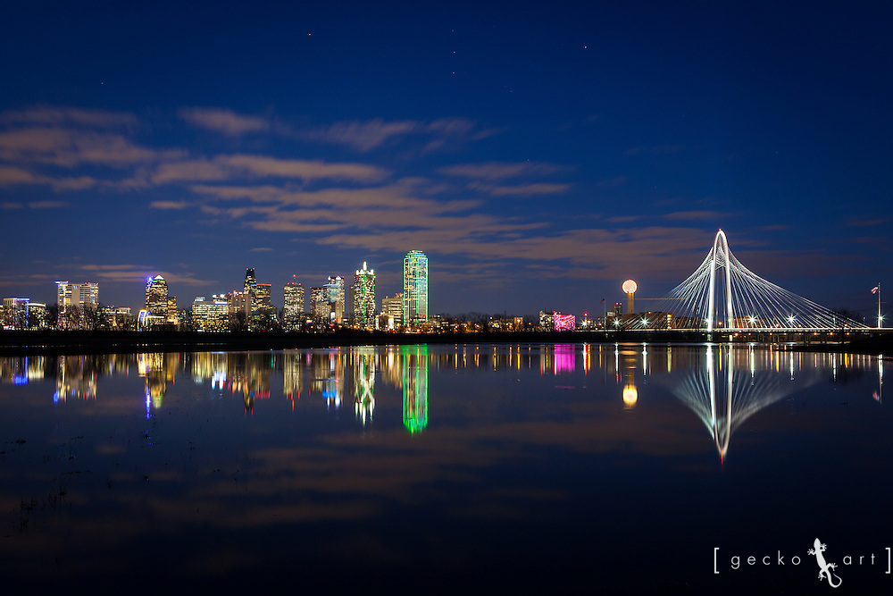 Dallas Skyline, including the Margaret Hunt Hill Bridge, reflecting on the Trinity River after recent rainfall   ** High Resolution Images Available By Request or on my website geckoart.net **