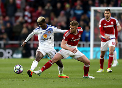 Didier Ndong of Sunderland and Adam Clayton of Middlesbrough challenge for the ball - Mandatory by-line: Robbie Stephenson/JMP - 26/04/2017 - FOOTBALL - Riverside Stadium - Middlesbrough, England - Middlesbrough v Sunderland - Premier League