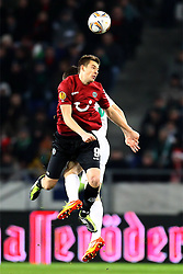 15.12.2011, AWD Arena, Hannover, GER, UEFA Europa League, GER, UEFA EL, Gruppe B, Hannover 96 (GER) vs FC Vorskla Poltava (UKR), im Bild Artur Sobiech (Hannover 96) im Kopfballduell mit Evgen Selin (Vorskla Poltava) // during the Europa Leaque football match Hannover 96 (GER) vs FC Vorskla Poltava (UKR), group b, at AWD Arena,  Hannover, GER, on 2011/12/15. EXPA Pictures © 2011, PhotoCredit: EXPA/ nph/ SielskiSielski..***** ATTENTION - OUT OF GER, CRO *****