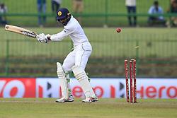 August 13, 2017 - Colombo, Sri Lanka - Sri Lankan cricketer Upul Tharanga gets bowled out during the 2nd Day's play in the 3rd Test match between Sri Lanka and India at the Pallekele International cricket stadium, Kandy, Sri Lanka on Sunday 13 August 2017. (Credit Image: © Tharaka Basnayaka/NurPhoto via ZUMA Press)