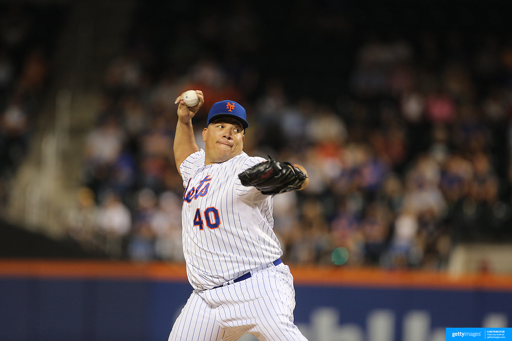 Pitcher Bartolo Colon, New York Mets, pitching during the New York Mets Vs Miami Marlins MLB regular season baseball game at Citi Field, Queens, New York. USA. 16th September 2015. Photo Tim Clayton