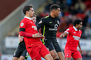 Leyton Orient defender Mathieu Baudry and York City forward Vadaine Oliver during the Sky Bet League 2 match between Leyton Orient and York City at the Matchroom Stadium, London, England on 21 November 2015. Photo by Simon Davies.