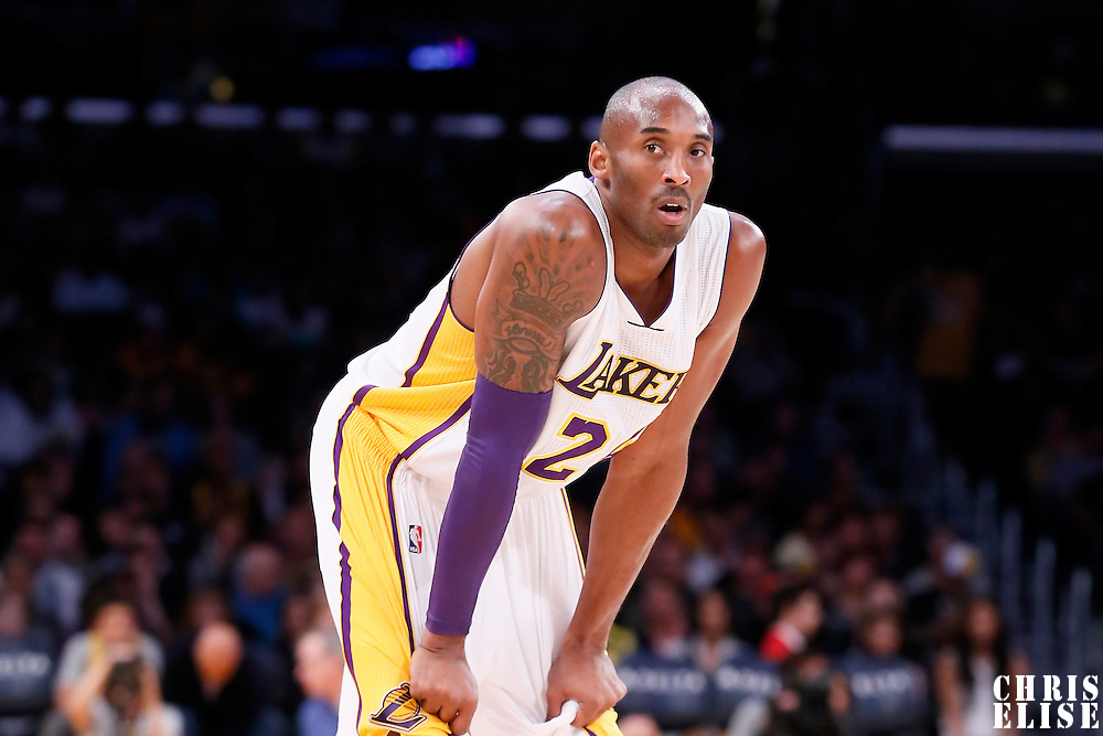 23 November 2014: Los Angeles Lakers guard Kobe Bryant (24) rests during the Denver Nuggets 101-94 overtime victory over the Los Angeles Lakers, at the Staples Center, Los Angeles, California, USA.
