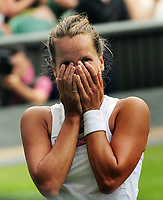 Tennis - 2019 Wimbledon Championships - Week Two, Tuesday (Day Eight)<br /> <br /> Women's Singles, Quarter-Final: Barbora Strycoya ((CZE) v Johanna Konta (GBR)<br /> <br /> Barbora Strycoya covers her face after winning match point on Centre Court.<br /> <br /> COLORSPORT/ANDREW COWIE