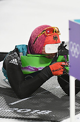 PYEONGCHANG, Feb. 12, 2018  Germany's Laura Dahlmeier shoots during women's 10km pursuit event of biathlon at the 2018 PyeongChang Winter Olympic Games at Alpensia Biathlon Centre in PyeongChang, South Korea, on Feb. 12, 2018. Laura Dahlmeier claimed champion in a time of 30:35.3. (Credit Image: © Wang Haofei/Xinhua via ZUMA Wire)