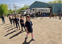 """Elm Street School Kindergarteners arrive at Foley Oil """"ready to go to work"""" during their field trip on Wednesday morning.  (Karen Bobotas/for the Laconia Daily Sun)"""