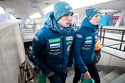 Anže Semenič and Bor Pavlovčič prior to the driving of Slovenian National Ski jumping Team from Ljubljana by train to the FIS World Cup Ski Jumping Final Planica 2018, on March 21, 2018 in Ljubljana, Slovenia. Photo by Urban Urbanc / Sportida