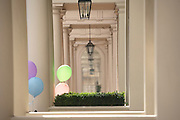 Helium-filled pastel-coloured brthday party balloons tied to railings in exclusive property in Belgravia's Eaton Place, London