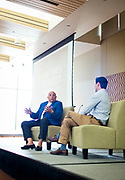 Former UW Football Head Coach Barry Alvarez is interviewed by Chris Stone in the Gordon Center at the Cap Times 2017 Idea Fest, Sunday, September 17, 2017
