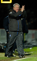 STEVENAGE, ENGLAND - Saturday, December 17, 2011: Tranmere Rovers' manager Les Parry looks dejected as his side lose 2-1 to Stevenage during the Football League One match at Broadhall Way. (Pic by David Rawcliffe/Propaganda)