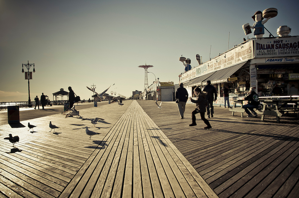 Coney Island's boardwalk during off-season, Brooklyn, New York, 2010.