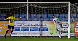 RHYL, WALES - Wednesday, November 14, 2018: Wales' goalkeeper George Williams misses the back pass by Brandon Cooper to concede an own goal during the UEFA Under-19 Championship 2019 Qualifying Group 4 match between Wales and Scotland at Belle Vue. (Pic by Paul Greenwood/Propaganda)