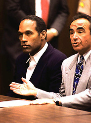 Jan 24, 1995 - Los Angeles, California, USA - ORENTHAL JAMES SIMPSON, or OJ SIMPSON, faced 2 counts of first-degree murder in the June 12, 1994, stabbing of ex-wife Nicole Brown Baur Simpson, and her friend Ron Goldman. OJ was found not guilty at the criminal trial (1/24-10/3/1995). but a civil trial (1919-10-2396-2/4/1997) found OJ liable for the murders and responsible for 33.5 million dollars compensatory damages to be split by the Brown and Goldman families. OJ now lives in Florida. PICTURED: O.J. SIMPSON, right, and his attorney ROBERT SHAPIRO are shown at the murder trial, date unknown. (Credit Image: © Court POOL/ZUMApress.com)