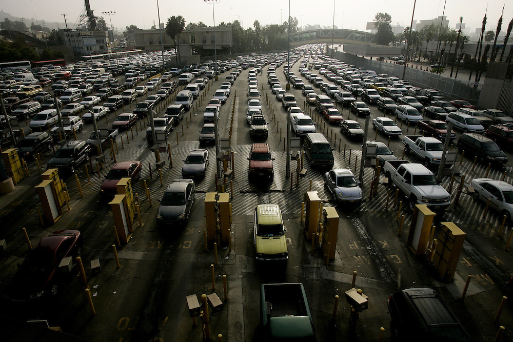 Vehicles wait  in lines to cross the border at the U.S. Port of Entry in San Ysidro, Calif.