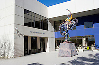 Bucking bronco sculpture at entrance to El Paso Museum of Art, downtown El Paso, Texas.