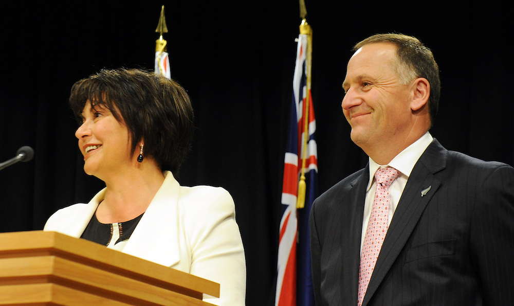 Education Minister Hekia Parata, left, with  Prime Minister John Key at the announcement of the first five Partnership Schools, Parliament, Wellington, New Zealand, Tuesday, September 17, 2013. Credit:SNPA / Ross Setford