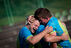 Players of Slovenia celebrate during rugby match between National team of Slovenia (green) and Serbia (red) at EUROPEAN NATIONS CUP 2012-2014 of C group 2nd division, on October 18, 2014, at ZAK Stadium, Ljubljana, Slovenia. (Photo by Matic Klansek Velej / Sportida.com)