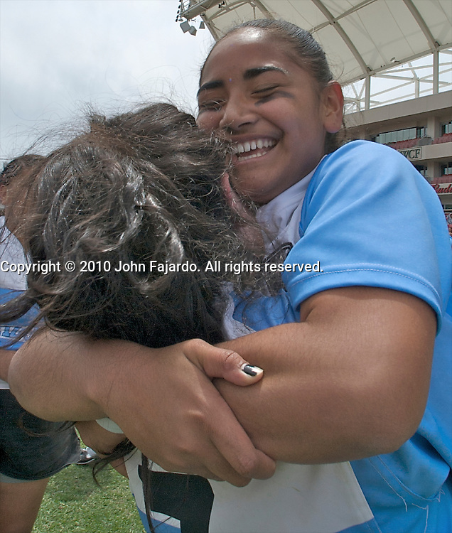 Amazon players celebrate after beating Fallbrook in the USA Rugby U19 Girls National Championship match at Rio Tinto Stadium, Sandy Utah, Sunday May 23, 2010.