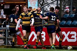 Tobi Wilson of Worcester Warriors U18 celebrates with teammates after scoring a try  - Mandatory by-line: Robbie Stephenson/JMP - 28/12/2019 - RUGBY - Sixways Stadium - Worcester, England - Worcester Warriors U18 v Wasps U18 - Premiership U18 Academy