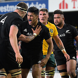 Rieko Ioane (second left) celebrates his try during the Rugby Championship and Bledisloe Cup rugby match between the New Zealand All Blacks and Australia Wallabies at Forsyth Barr Stadium in Dunedin, New Zealand on Saturday, 26 August 2017. Photo: Dave Lintott / lintottphoto.co.nz