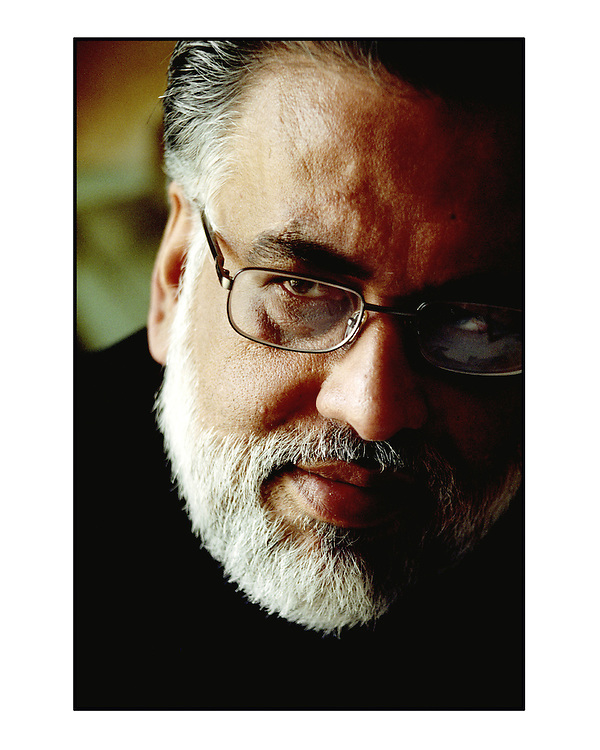 Film director Jug Mundhra, photographed at his home in Juhu, Mumbai.  Scan from 35mm colour negative. By Siddharth Siva