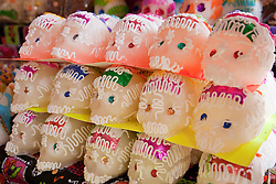 North America, Mexico, Oaxaca Province, Oaxaca, Abastos market, sugar skulls (calaveras de azúcar) for annual Day of the Dead (Dias de los Muertos) celebration in November