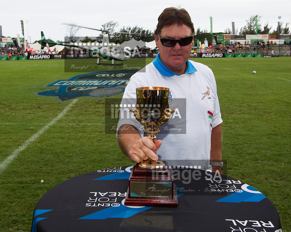 DURBAN, SOUTH AFRICA - FEBRUARY 16 2013,  Danie Gerber delivers the Gold Cup by helicopter before match 1 of the Cell C Community Cup rugby match between Jonsson College Rovers and GAP Despatch held at Kings Park 3 in Durban..Photo by Rogan Ward, ImageSA