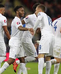 Raheem Sterling ( L ) of England celebrates with Jamie Vardy after he scores to make it 2-0 - Mandatory byline: Paul Terry/JMP - 07966 386802 - 09/10/2015 - FOOTBALL - Wembley Stadium - London, England - England v Estonia - European Championship Qualifying - Group E